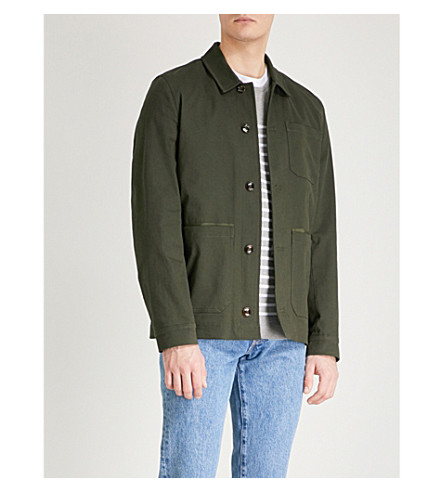 TED BAKER Pocketed stretch-cotton overshirt (Khaki