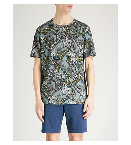 TED BAKER Camoo cotton-jersey T-shirt (Teal