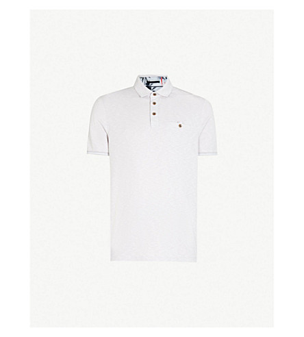 TED BAKER Oxford woven polo shirt (Light+purple
