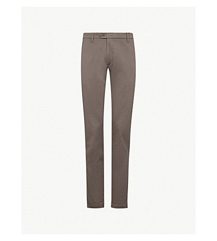 TED BAKER Slim-fit tapered cotton-blend trousers (Natural