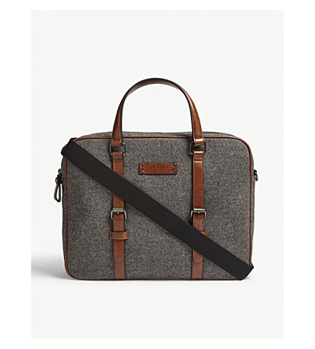 TED BAKER Textile document bag (Grey