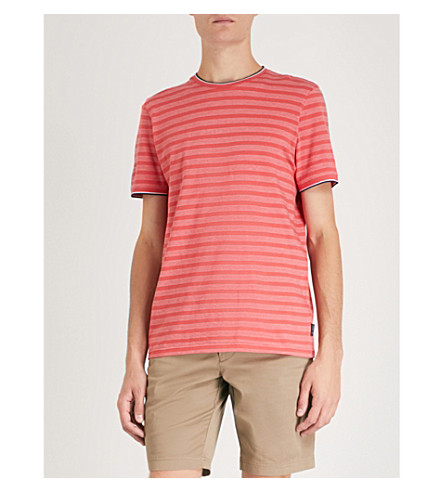 TED BAKER Bullway Birdseye striped cotton T-shirt (Coral