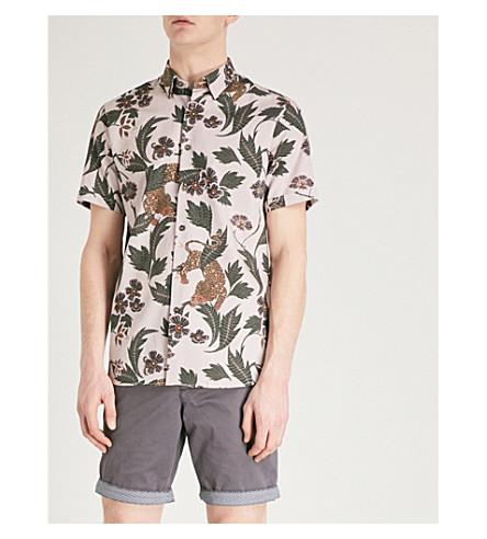TED BAKER Leopard-print cotton-poplin shirt (Pink