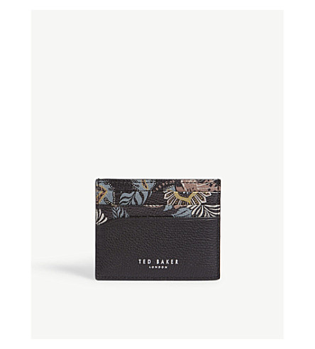TED BAKER Plated printed leather cardholder (Black