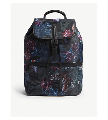 TED BAKER Tropical-print shell backpack