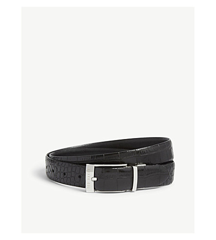 TED BAKER Kong reversible crocodile-embossed leather belt (Black