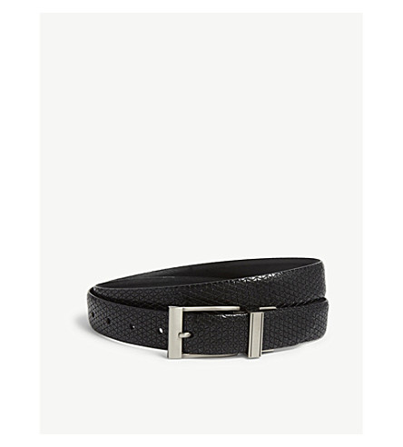 TED BAKER Tatti textured leather belt (Black