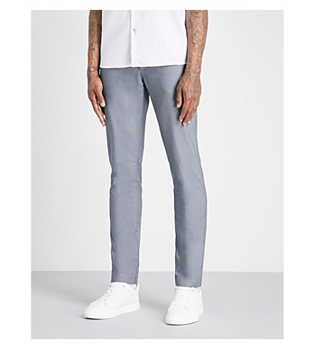 TED BAKER Slim-fit tapered textured-cotton trousers (Light+blue