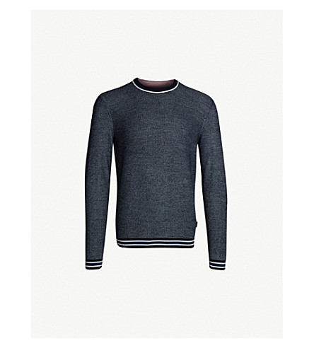 TED BAKER Curlywu striped-trim knitted sweater (Navy