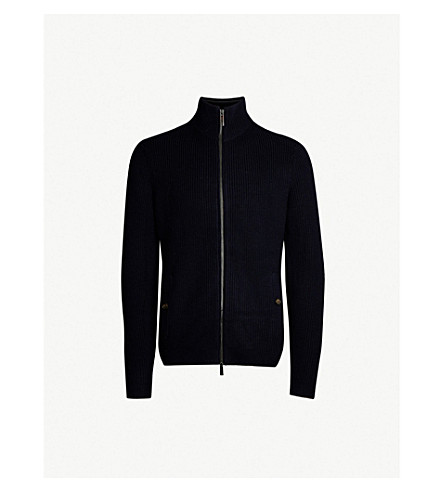 TED BAKER Saltcar zipped knitted sweater (Navy