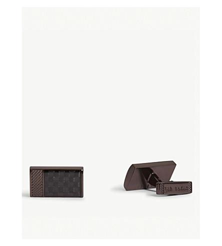 TED BAKER Bogard checked metal cufflinks (Chocolate