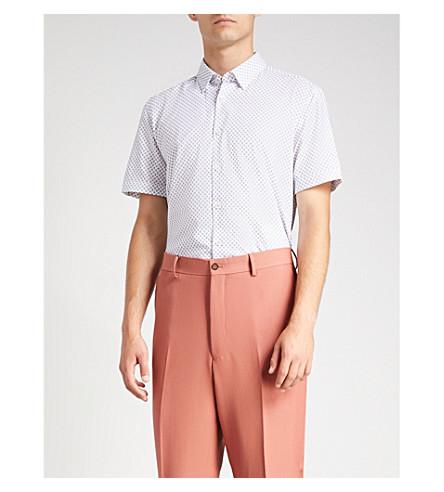 TED BAKER Geometric-print regular-fit cotton shirt (Dark+blue