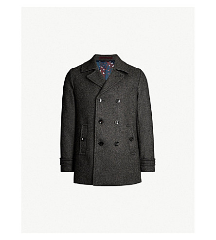 TED BAKER Grilld double-breasted wool-blend coat (Grey