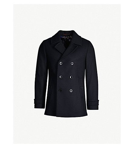 TED BAKER Grilld double-breasted wool-blend coat (Navy