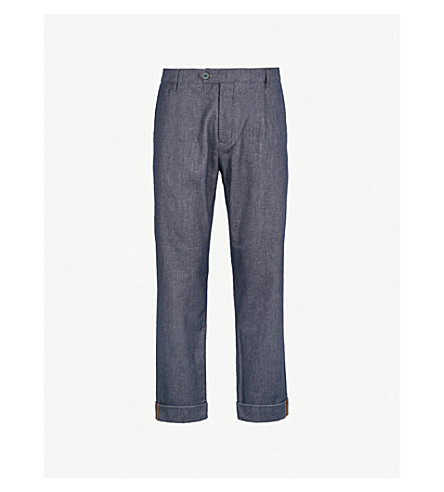 TED BAKER Wide-leg regular-fit stretch-cotton trousers (Navy