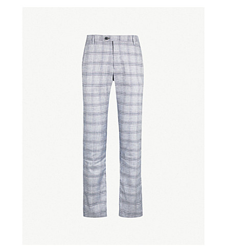 TED BAKER Checked regular-fit linen-blend trousers (Blue