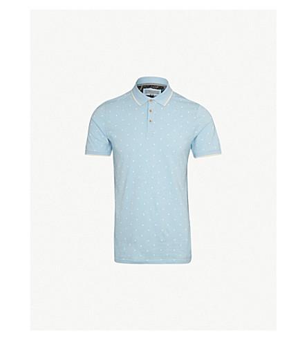 TED BAKER Monkey-print cotton-jersey polo shirt (Light+blue