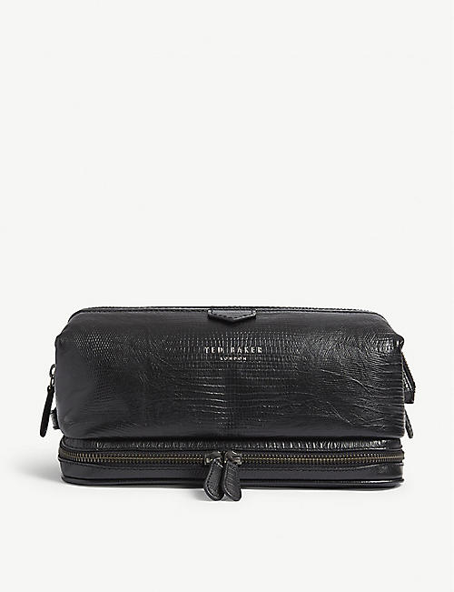 TED BAKER Bublay lizard-embossed leather washbag 8fc59ad68850d