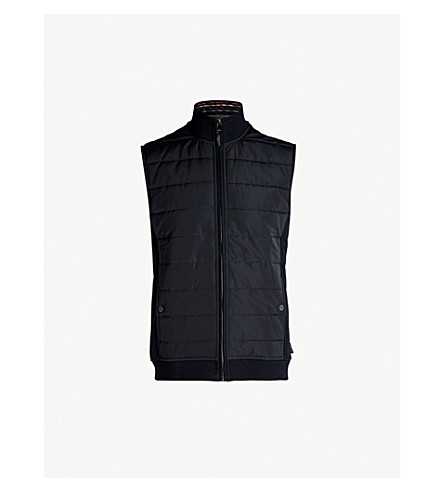 TED BAKER Flie quilted shell and jersey gilet (Navy