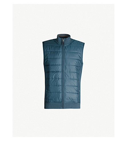 TED BAKER Flie quilted shell and jersey gilet (Teal-blue