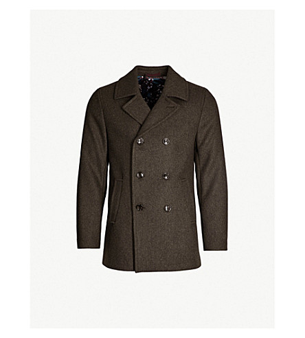 TED BAKER Double-breasted wool-blend pea coat (Khaki