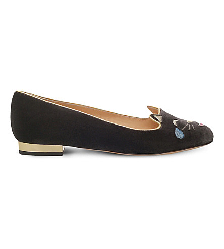 CHARLOTTE OLYMPIA Lol kitty velvet pumps (Grey/dark