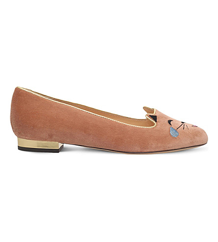 CHARLOTTE OLYMPIA Lol kitty velvet slippers (Pale+pink
