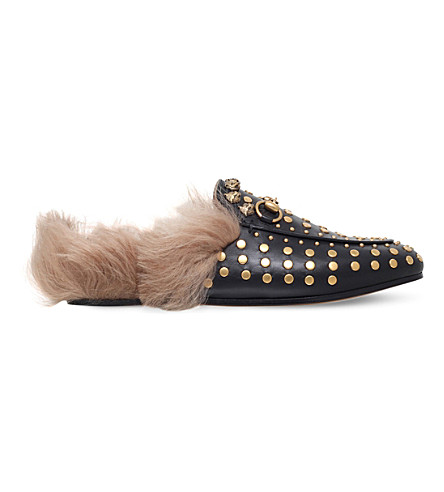 GUCCI Princetown studded leather slippers (Gold+comb