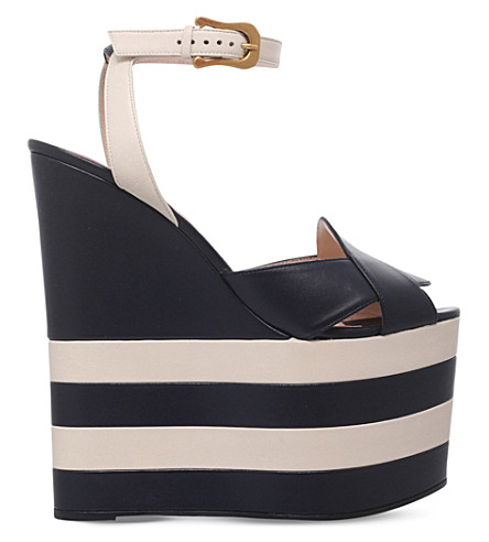 GUCCI Sally leather platform wedge sandals (Blue+other