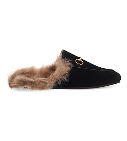 gucci - princetown velvet slippers | selfridges