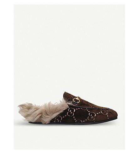 GUCCI Princetown GG velvet slippers (Dk.brn+com
