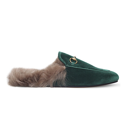 GUCCI Princetown velvet slippers (Mid+green