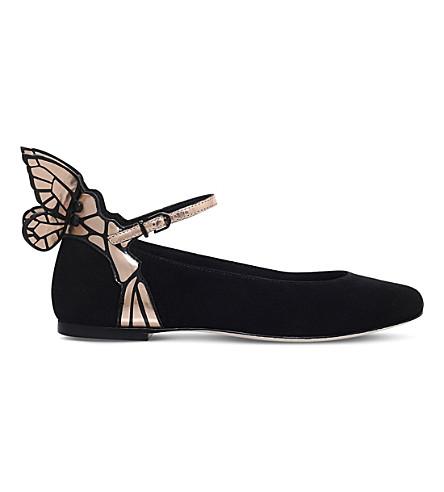 SOPHIA WEBSTER Chiara suede butterfly ballet flats (Black