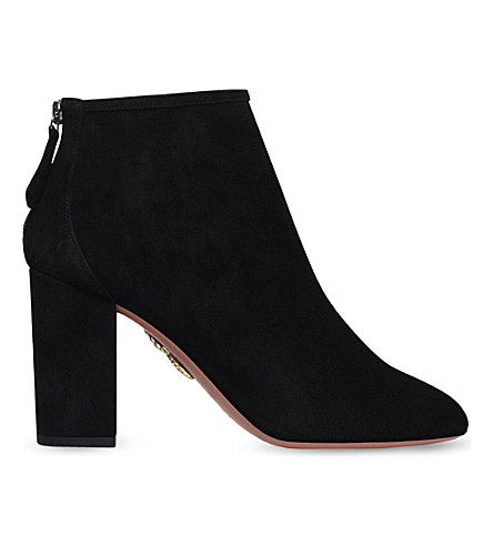 AQUAZZURA Downtown 85 suede heeled ankle boots (Black