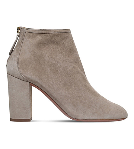 AQUAZZURA Downtown 85 suede heeled ankle boots (Grey