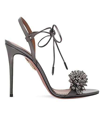 AQUAZZURA Monaco embellished leather sandals (Gunmetal