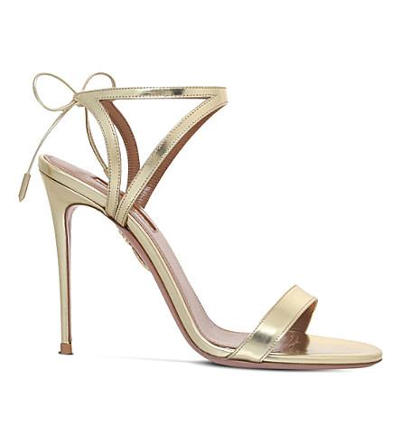 AQUAZZURA Uma metallic leather sandals
