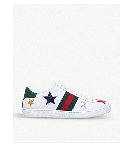 GUCCI New Ace star-detail leather trainers (White/oth