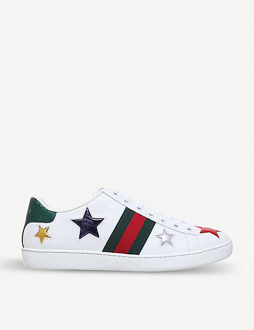 GUCCI New Ace star-detail leather trainers