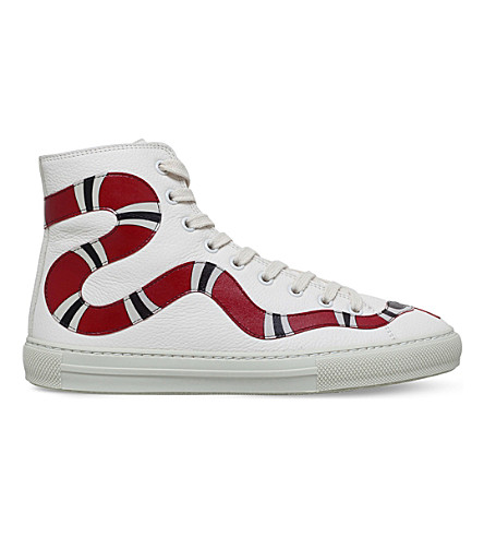 GUCCI Major snake appliqué leather high-top trainers (White/oth