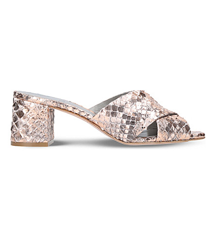 GINA Amazonia snake-embossed leather sandals (Pale+pink