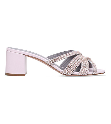 GINA Dexie jewel-embellished leather mules (Pale+pink