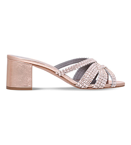GINA Dexie Rocher jewel-embellished leather sandals (Bronze