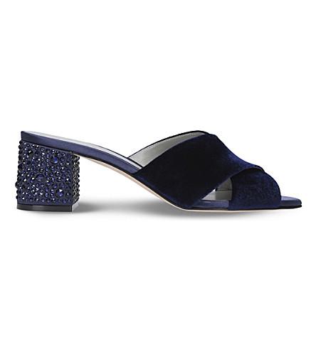 GINA Janiero slip-on velvet sandals (Navy