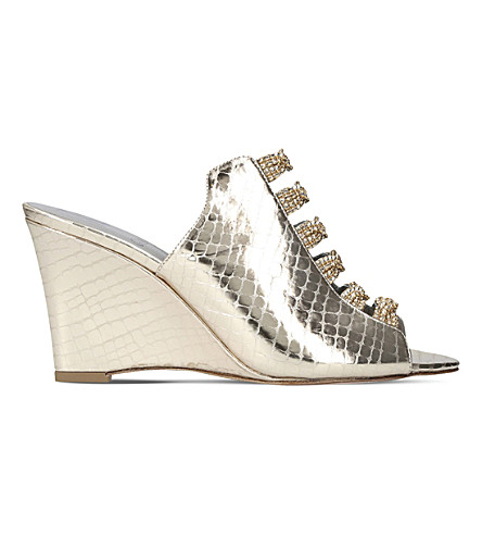 GINA Marlina metallic-leather Swarovski-embellished wedge sandals (Silver+com