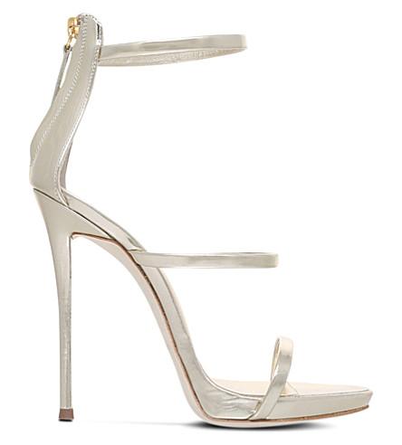 GIUSEPPE ZANOTTI Colline metallic-leather sandals (Silver