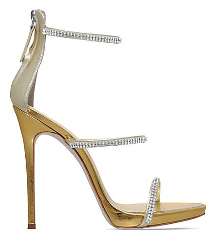 GIUSEPPE ZANOTTI Colline 110 leather sandals (Gold+comb