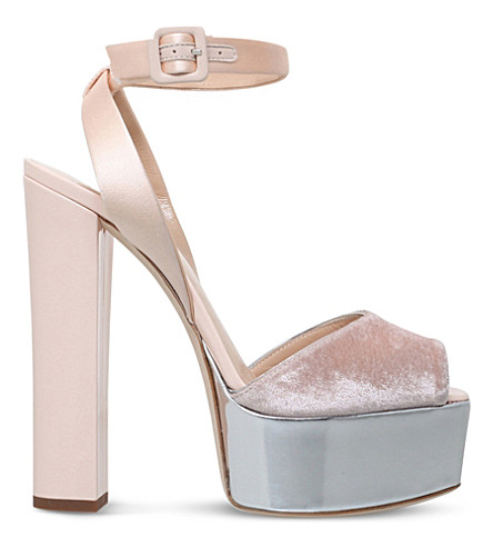 GIUSEPPE ZANOTTI Betty platform leather and velvet sandals (Nude