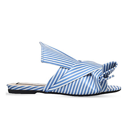 NO 21 Bow striped satin slippers (Pale+blue