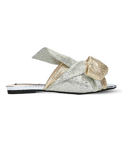 NO 21 Bow glitter slippers (Metal+comb